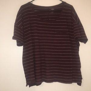 Burgundy striped boyfriend t-shirt